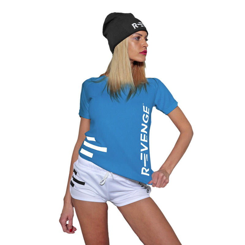 Camiseta de manga corta mujer fitness turquesa