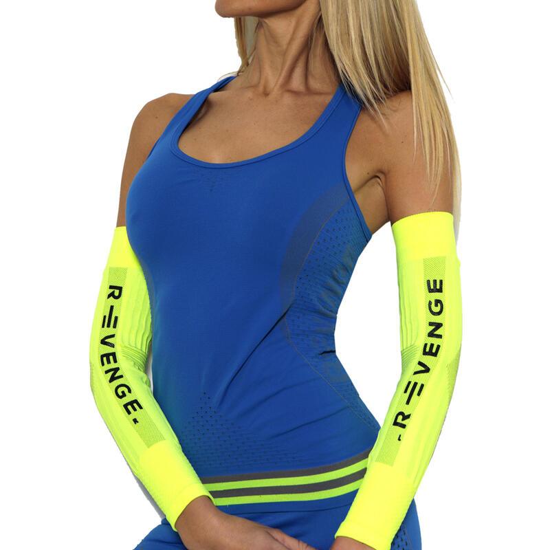 Camiseta sin mangas  para mujer running térmicos y transpirables azul