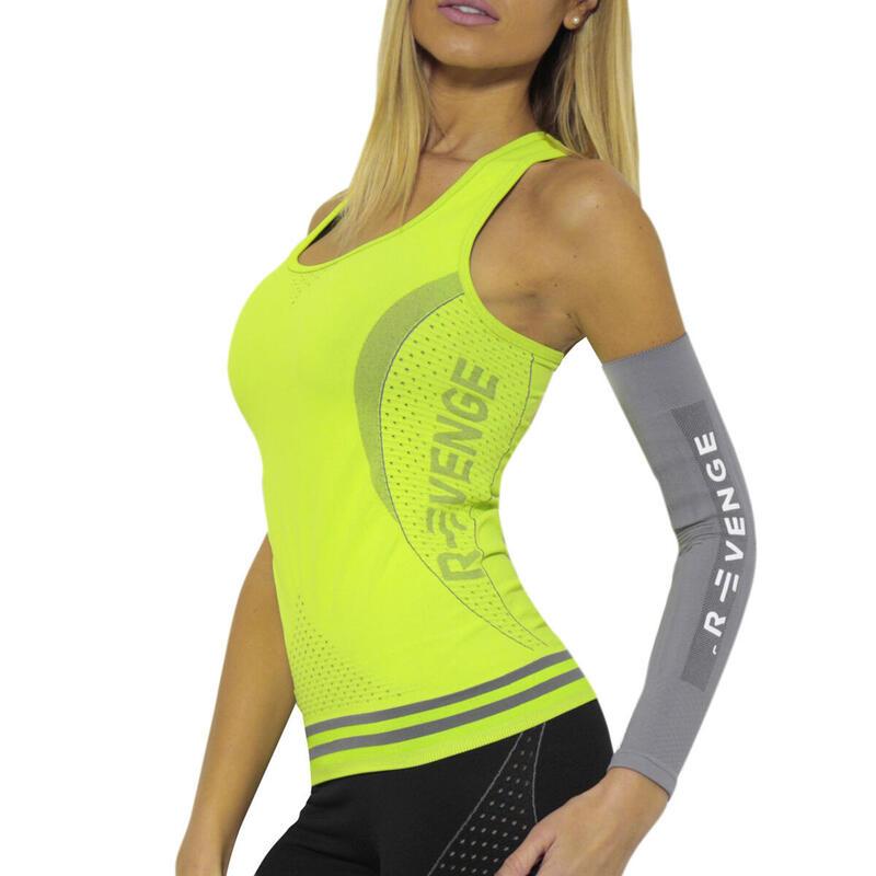 Camiseta sin mangas  para mujer running térmicos y transpirables amarillo