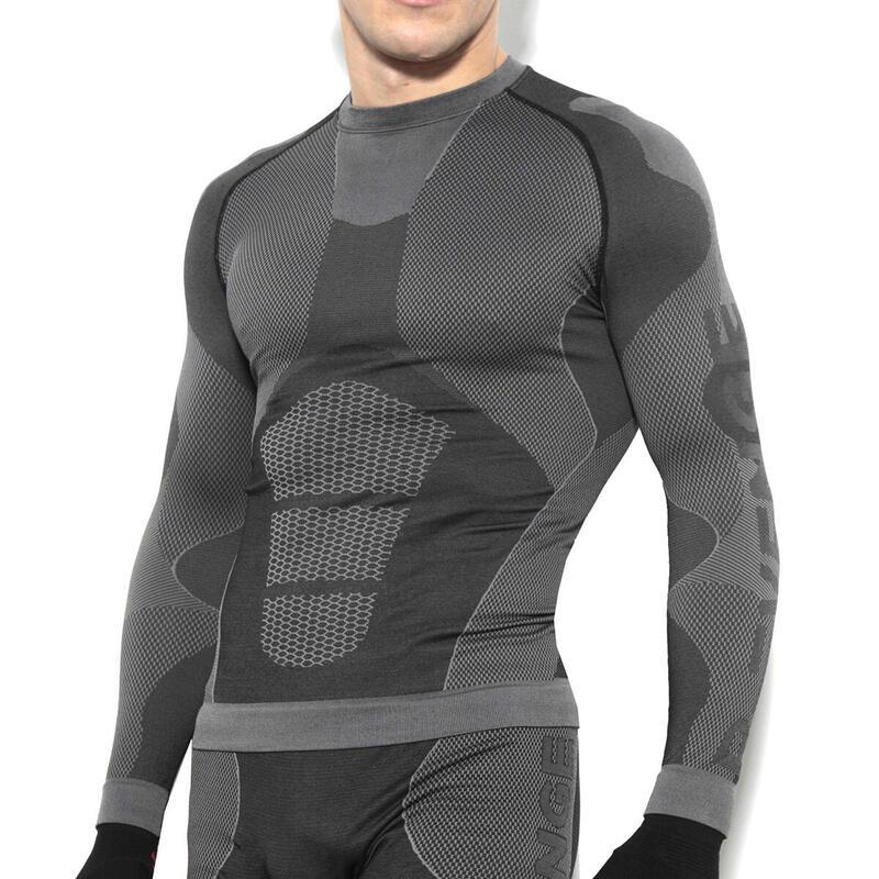 Camisa técnica de manga larga para hombre running transpirable  negro
