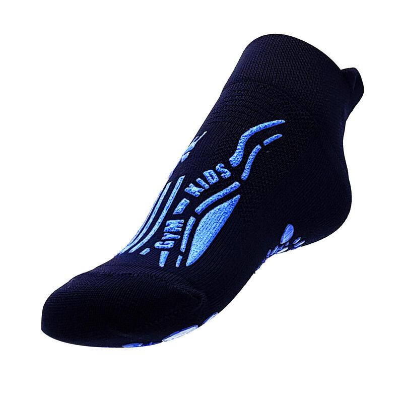 chaussettes gym  pour enfants pour la maison et l'école antidérapantes bleues
