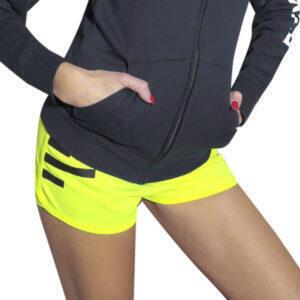 Shorts deportivos para mujer amarillo fluo