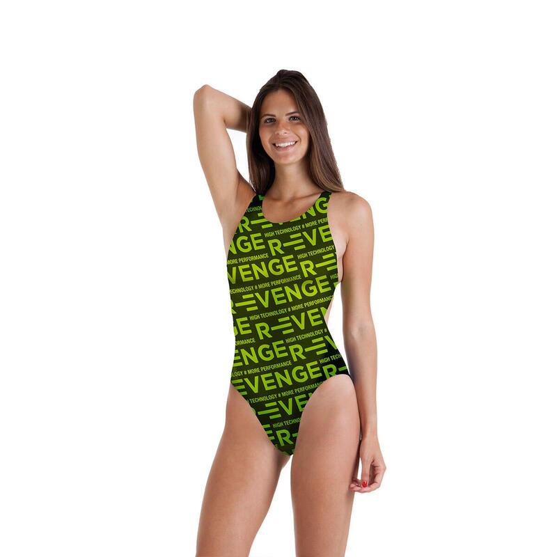 Costume intero donna da piscina Classico R-evenge verde acido
