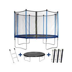 Trampoline Happy - Ø 4.25 m - Avec filet + échelle + couverture + kit d'ancrag