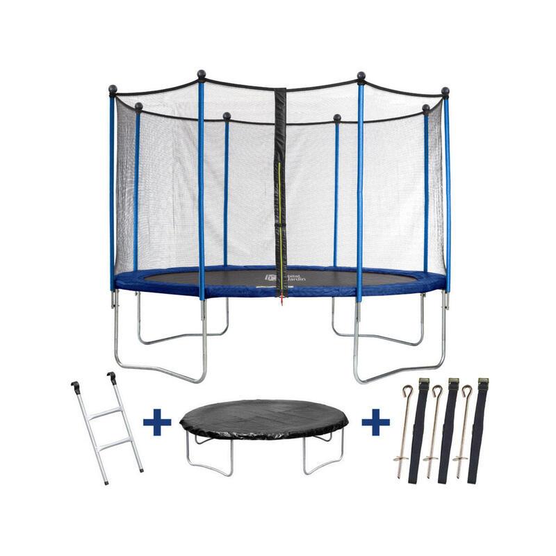 Trampoline Happy - Ø 3.65 m m - Avec filet + échelle + couverture + kit d'ancr