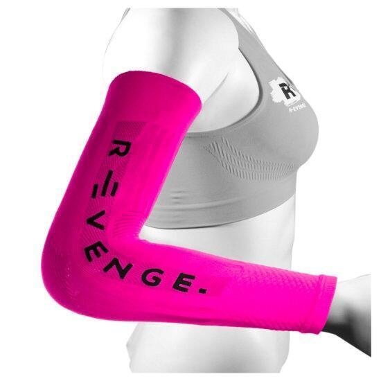 Arm Mangas para los brazos adultos protección de compresión de ciclismo fucsia