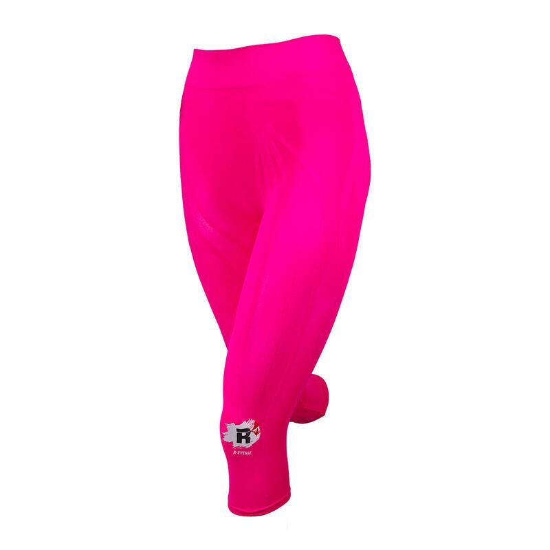 Leggings técnicos Capri para mujer Running Protection Taping fucsia fluo