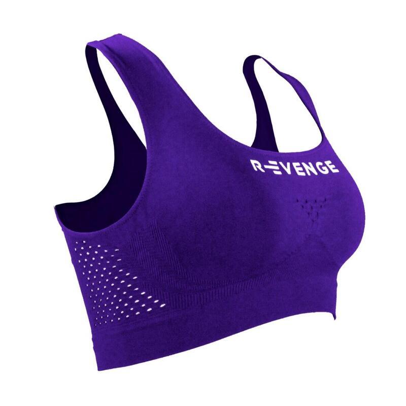 Sujetador deportivo Mujer Running Fitness Protection Taping viola oscuro