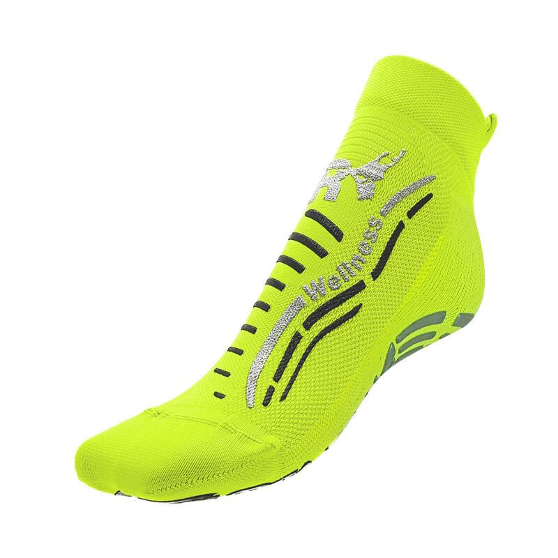 Chaussettes gym wellness classiques adulte fitness antidérapantes jaune argent