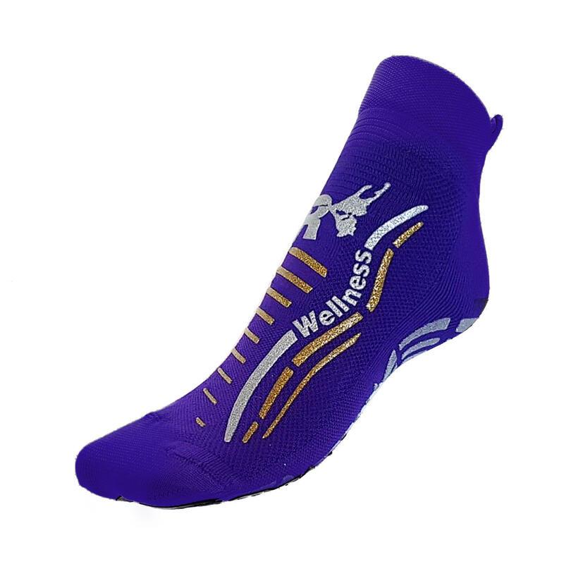 Chaussettes gym wellness classiques adulte fitness antidérapantes violet argent