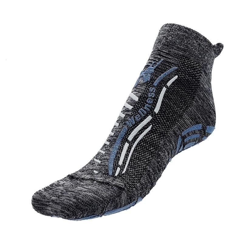 Chaussettes gym wellness classiques adulte fitness antidérapante gris chiné bleu