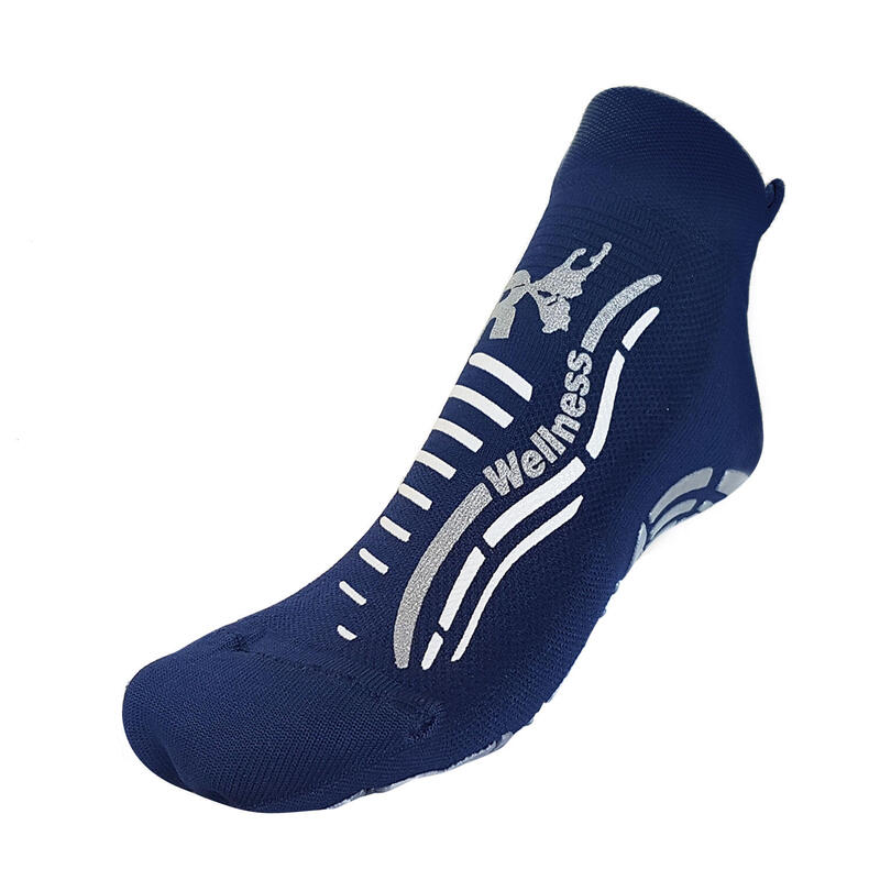 Calcetines gimnasio Wellness clásico adultos fitness antideslizantes azul plata