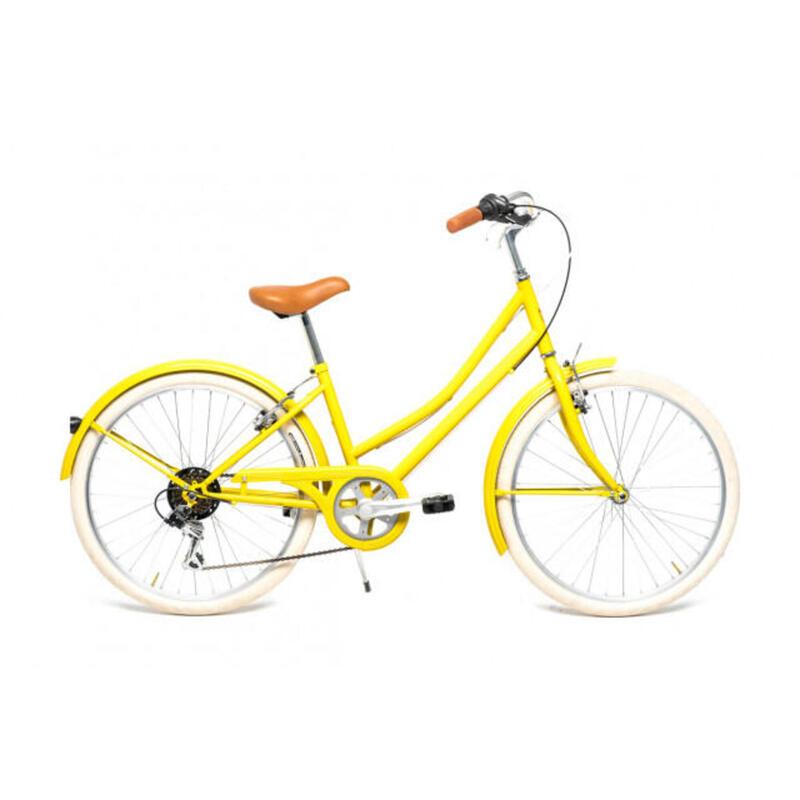 """Bicicleta de paseo retro Capri Carolina 24"""" Amarillo Limón  6V"""