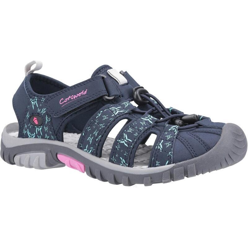 Womens/Ladies Sandhurst Touch Fastening Sandal (Navy/Pink)