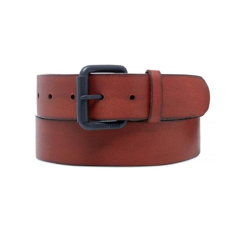 Mens Roller Buckle Leather Belt (Brown)