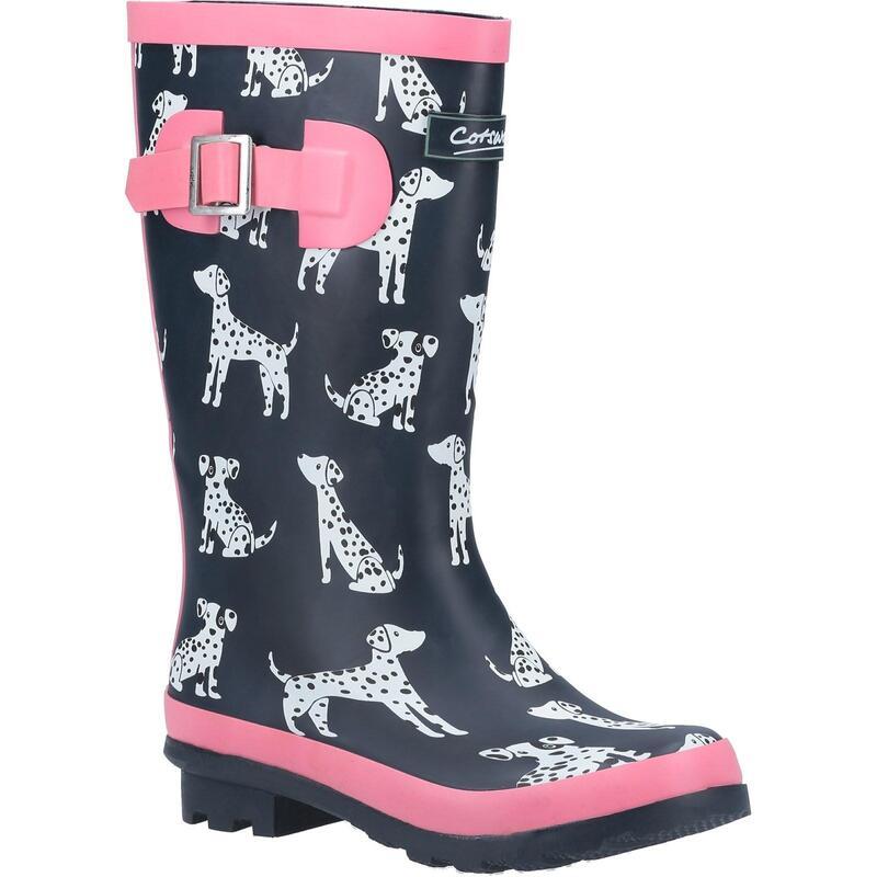 Girls Spot Wellington Boots (Navy/Pink)