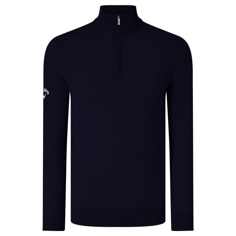 Mens Ribbed Zip Merino Sweater (Peacoat Navy)