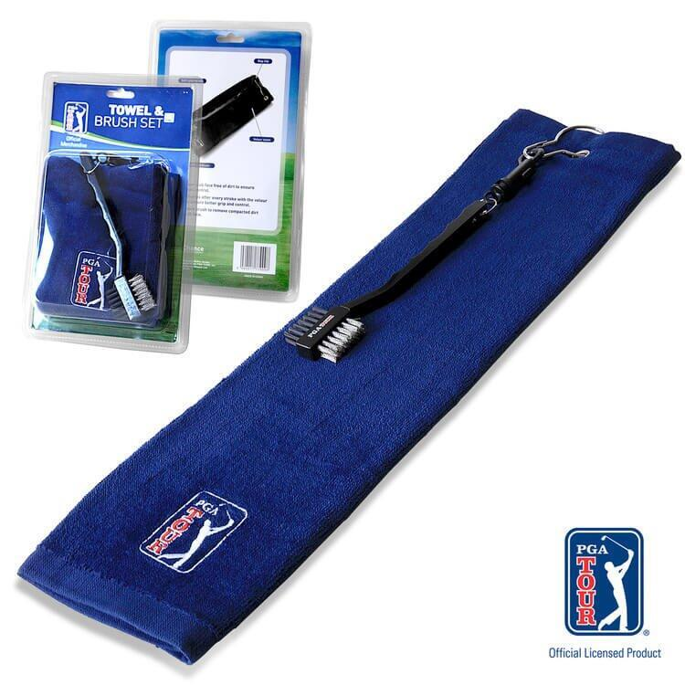 PGA TOUR Golf Towel and Brush Set