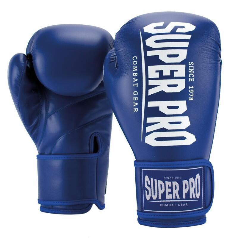 Super Pro Combat Gear Champ (kick)bokshandschoenen Blauw/Wit 10oz