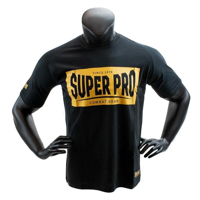 Super Pro T-Shirt S.P. Block-Logo Zwart/Goud Extra Small