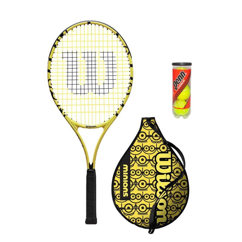 "Wilson x Minions 25"" Junior Tennis Racket inc Protective Cover & Tennis Balls"