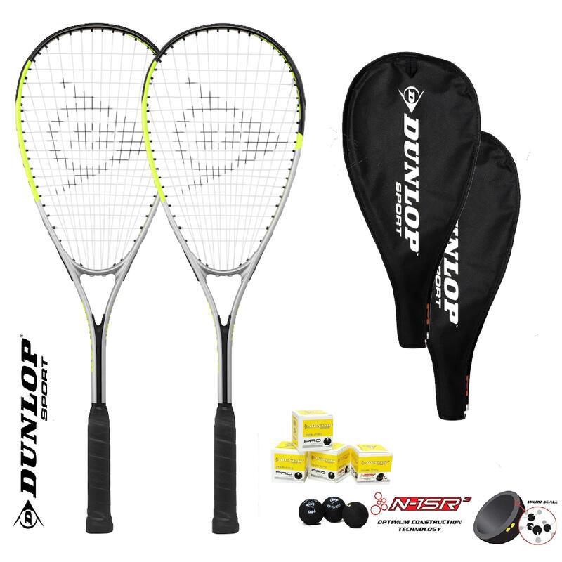 Dunlop Hyper Lite Squash Racket Twin Set inc Protective Covers & 3 Squash Balls