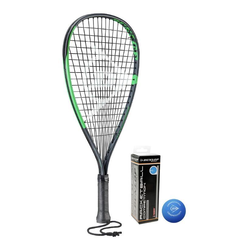 Dunlop Sonic Ti Racketball Racket, inc Protective Cover & 3 Dunlop Racketball Ba