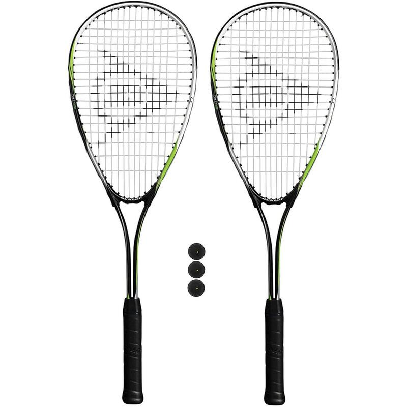 Dunlop Biotec Titanium Squash Racket Twin Set, inc Protective Covers & 3 Squash