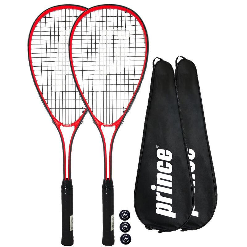 Prince Power Warrior Ti Squash Racket Twin Set, inc Covers & 3 Squash Balls