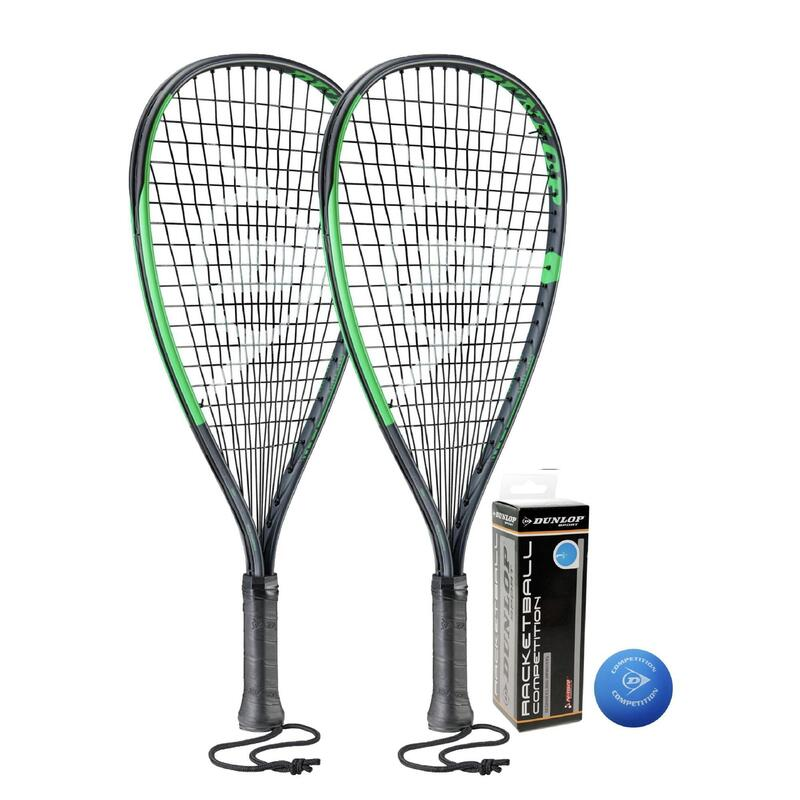 Dunlop Sonic Ti Racketball Racket Twin Set, inc Protective Covers & 3 Dunlop Rac