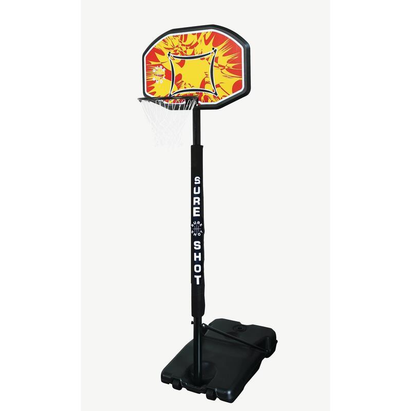 Sure Shot Telescopic Basketball Hoop with a Coloured Backboard