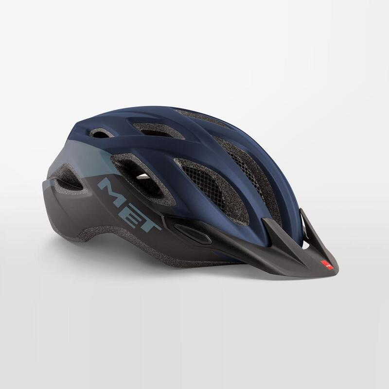 MET Crossover Helmet with Integrated LED Blue Black