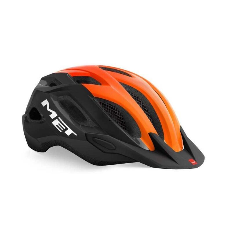 MET Crossover Helmet with Integrated LED Black Orange Glossy
