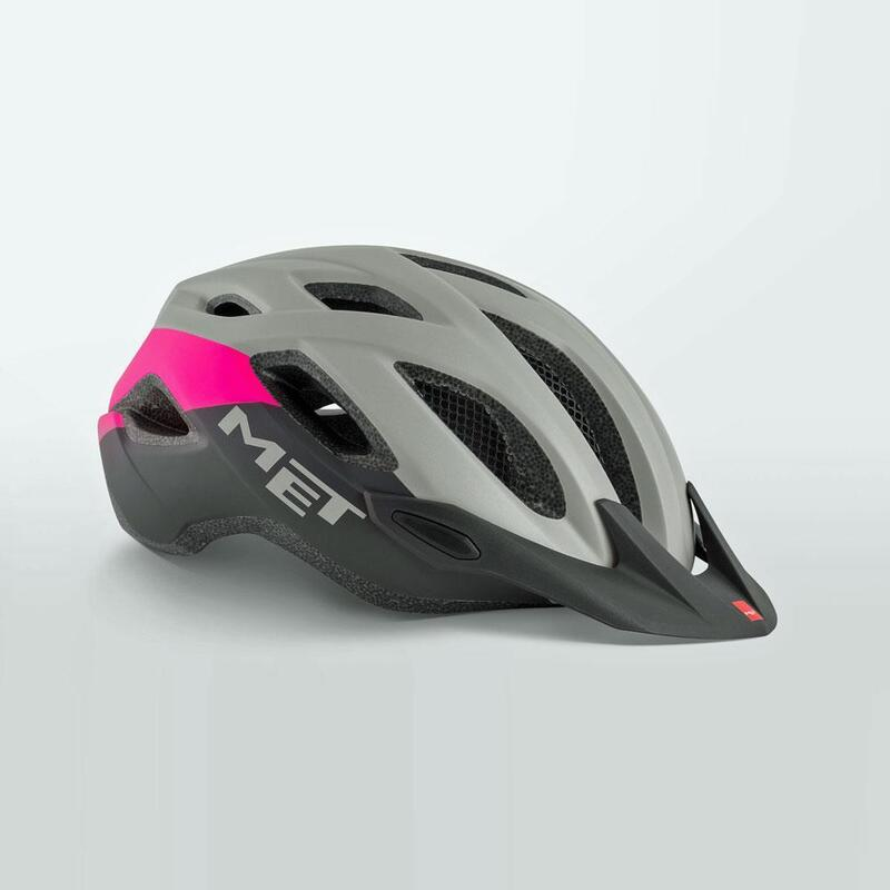 MET Crossover Helmet with Integrated LED Grey Pink Black
