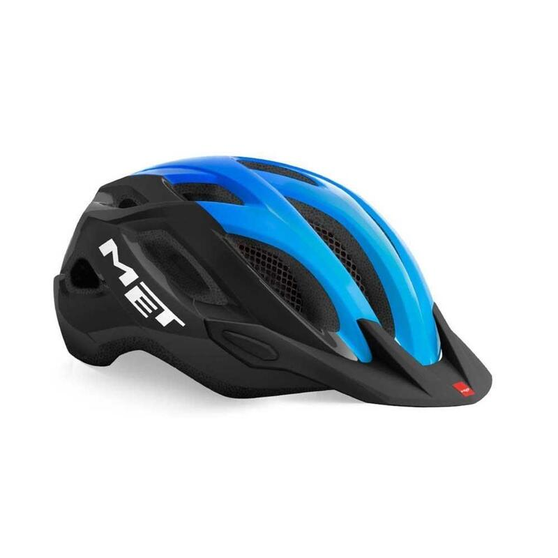 MET Crossover Helmet with Integrated LED Black Cyan Glossy