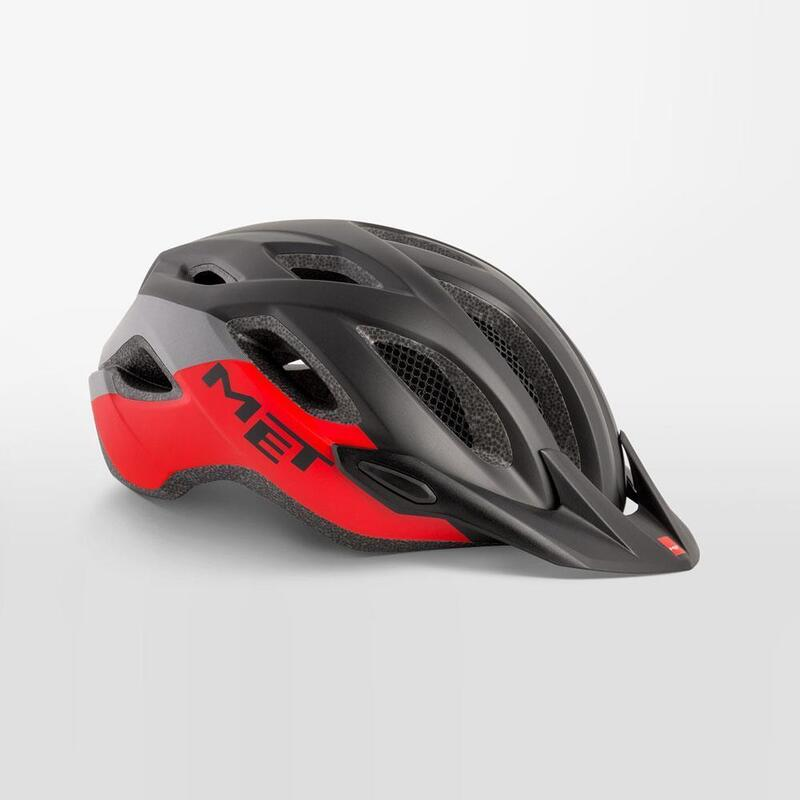 MET Crossover Helmet with Integrated LED Black Red