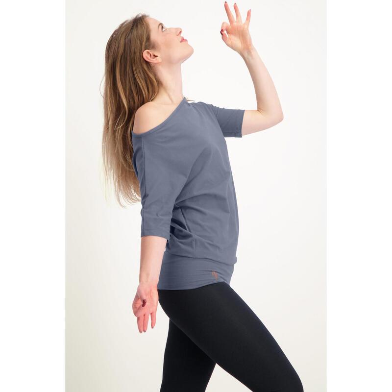Tunique de yoga long et confortable avec ceinture. Coton organique - Slate