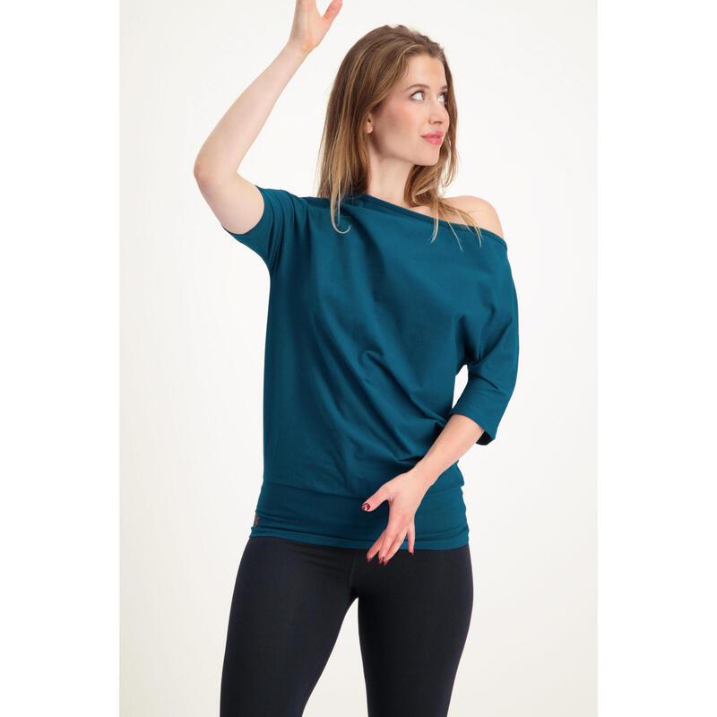 Tunique de yoga long et confortable avec ceinture. Coton organique - Lagoon
