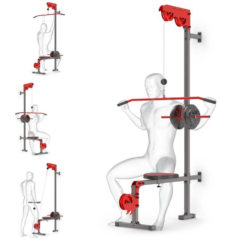 Lat pull con cavo superiore e inferiore per il montaggio a parete con sedile