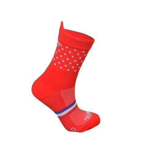 Chaussettes de course à pied Rouge à pois bleus