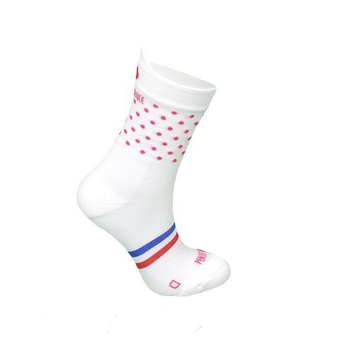 Chaussettes de course à pied Blanche à pois roses