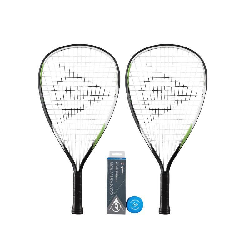 Dunlop Biotec Racketball Racket Twin Pack & 3 Racketball Balls