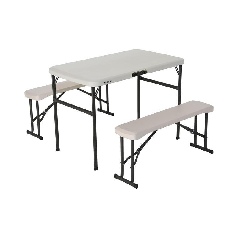 Conjunto plegable mesa y 2 bancos utrarresistente LIFETIME 106x61x74 cm UV100