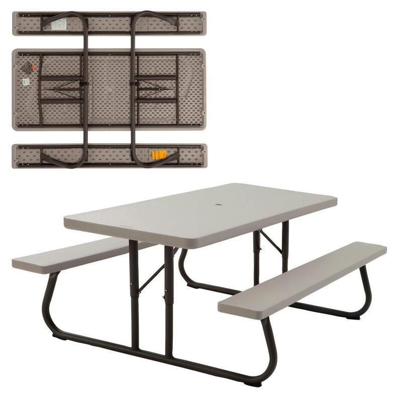 Mesa con bancos plegable ultrarresistente LIFETIME 183x76x74 cm UV100 blanco