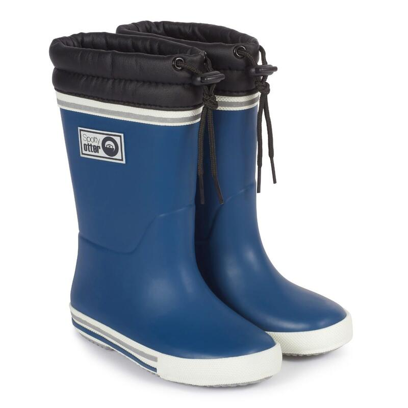 Spotty Otter Forest Leader Fleece Lined Wellies - Navy
