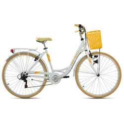 Vélo de ville femme 28'' Cantaloupe blanc avec panier Dacapo