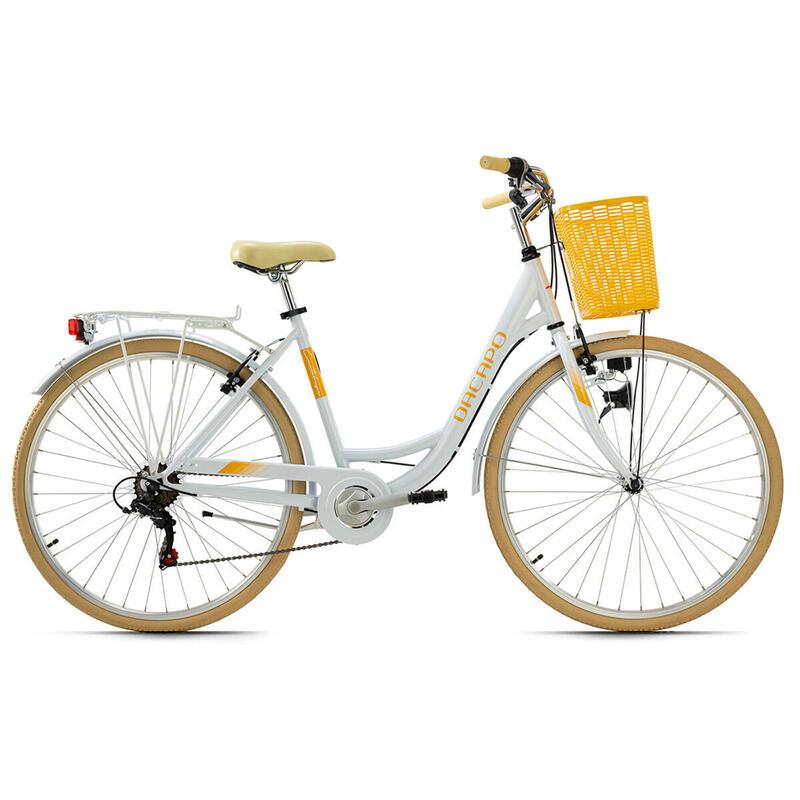 Vélo de ville femme 28'' Cantaloupe blanc avec panier TC 48 cm Dacapo