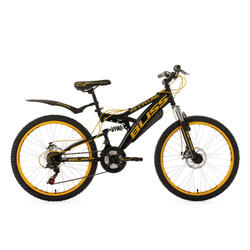 VTT tout suspendu adolescent 24'' Bliss noir-jaune TC 38 cm KS Cycling