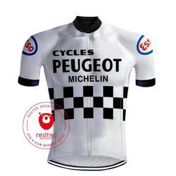 MAILLOT CYCLISME RÉTRO PEUGEOT-ESSO-MICHELIN  - REDTED RÉTRO