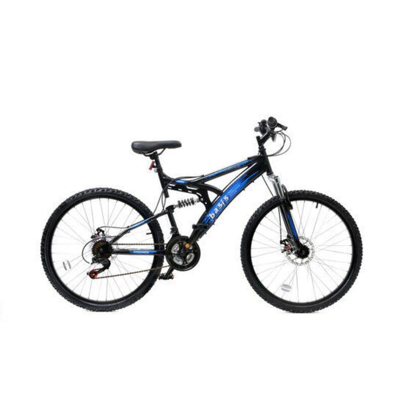 Basis 1 Full Suspension Mountain Bike - 26in Wheel - 18 Speed Black Blue